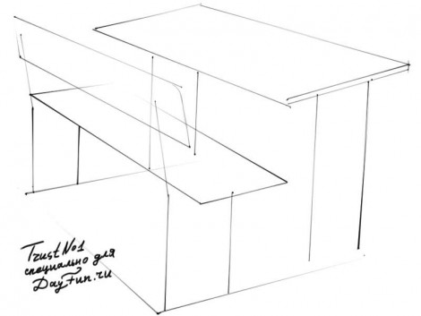 how to draw a school desk step by step 1