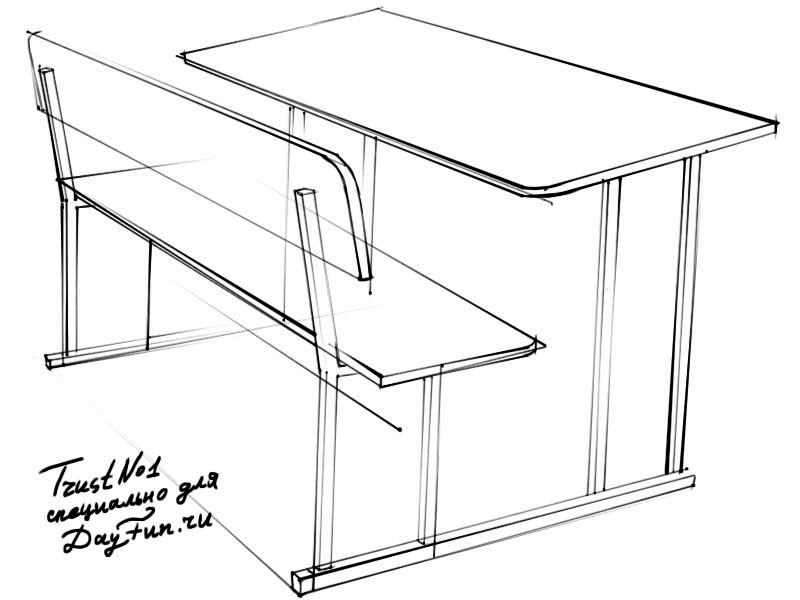 How to draw a school desk step by step