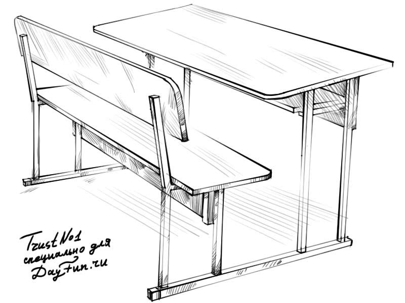 School Desk Drawing