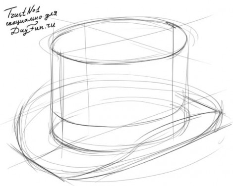 how to draw a top hat step by step 2