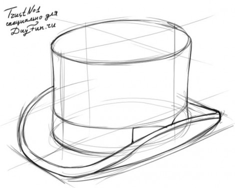 how to draw a top hat step by step 3