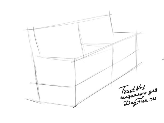 Draw Park Bench: How To Draw Bench Step By Step