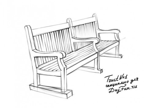 how to draw bench step by step 3