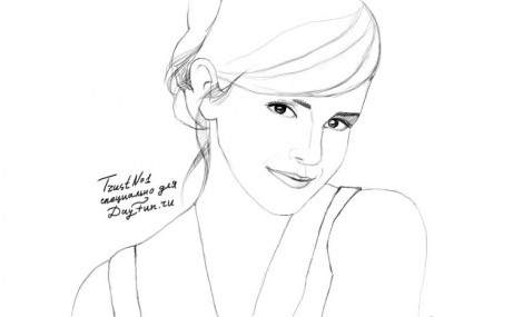 how to draw emma watson step by step 4