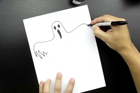 how to draw ghost step by step 3