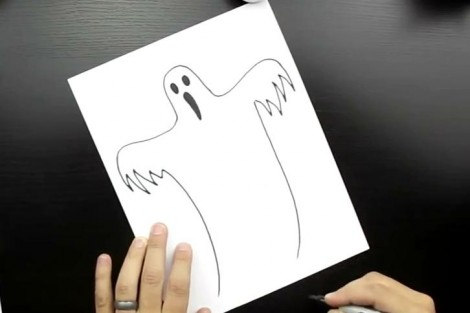 how to draw ghost step by step 4
