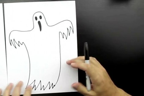 how to draw ghost step by step 5