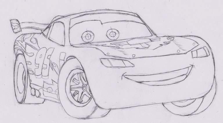 How to draw Lightning Mcqueen from cars | ARCMEL.COM