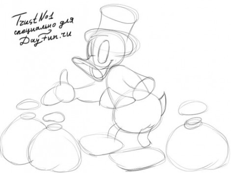 how to draw scrooge mcduck step by step 2
