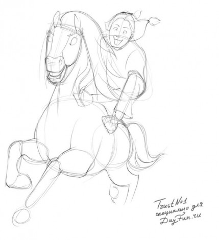 how to draw spirit the horse step by step 2