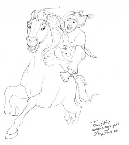 how to draw spirit the horse step by step 3
