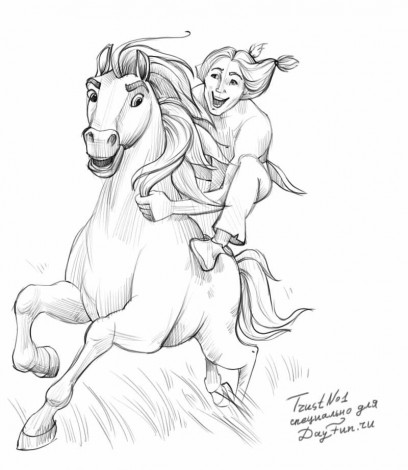 How to draw Spirit the stallion of the Cimarron step by ...  How to draw Spi...