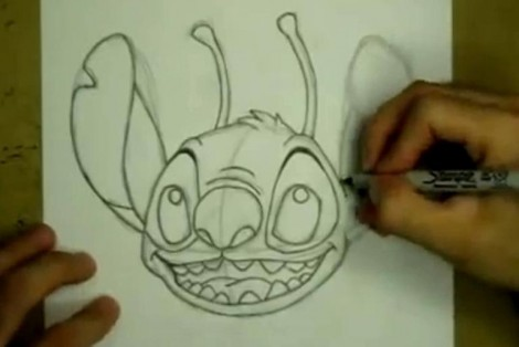 how to draw stitch step by step 3
