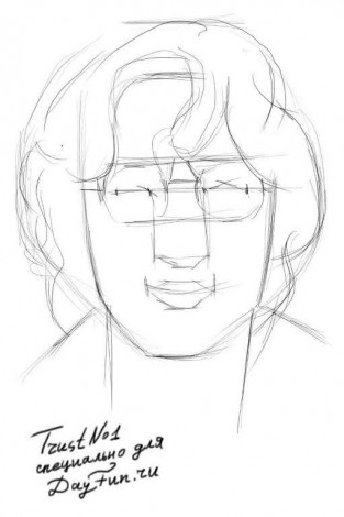 How to draw glasses on a face 2