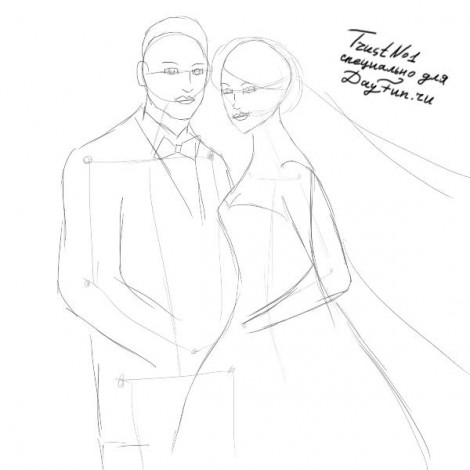 How to draw wedding step by step 3