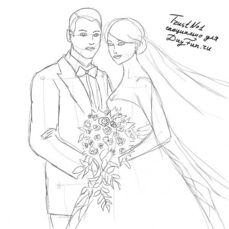 How to draw wedding step by step 4