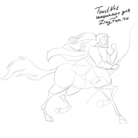 how to draw centaur step by step 3