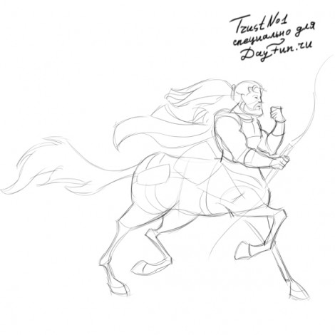 how to draw centaur step by step 4