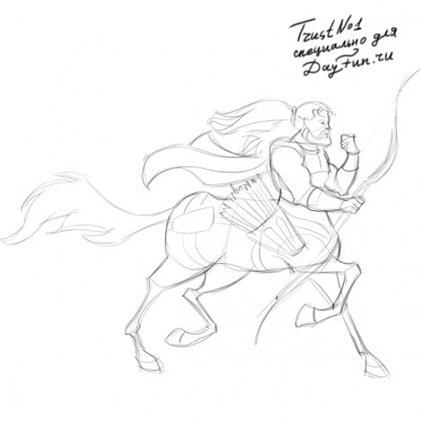 how to draw centaur step by step 5
