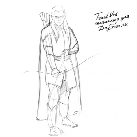 How to draw Legolas step by step 3