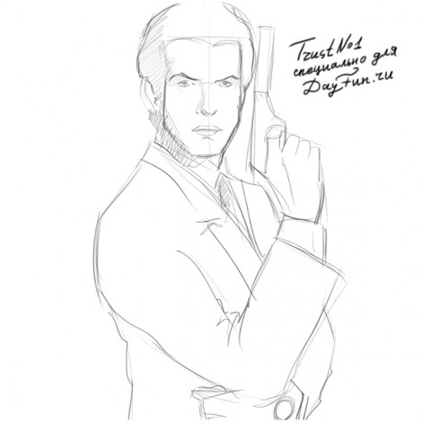 How to draw James Bond step by step 4