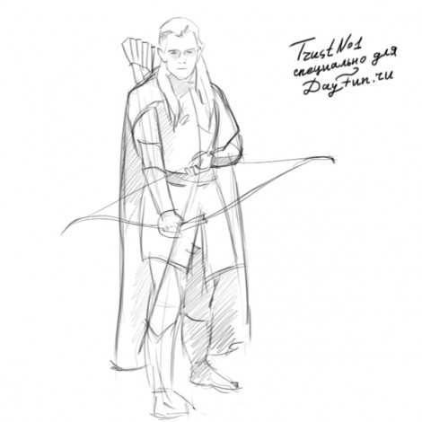 How to draw Legolas step by step 4