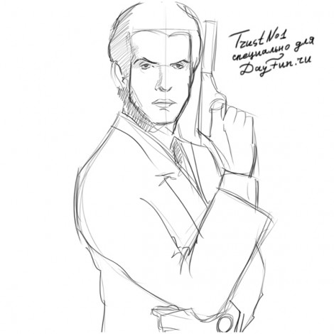 How to draw James Bond step by step 5