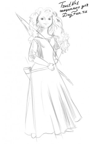 How to draw Merida from Brave step by step 2