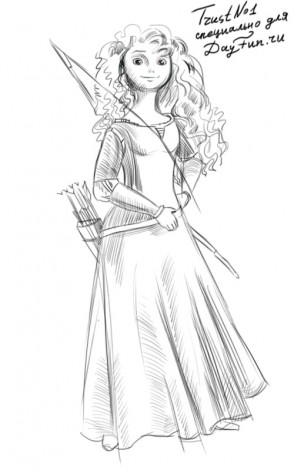 How to draw Merida from Brave step by step 3