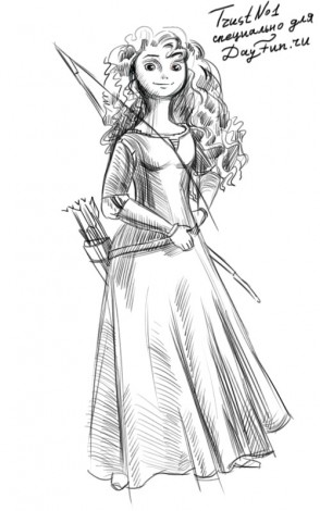 How to draw Merida from Brave step by step 4