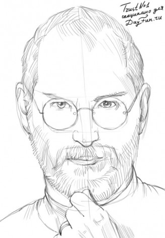 How to draw Steve Jobs 3