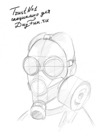 how to draw gas mask step by step 4