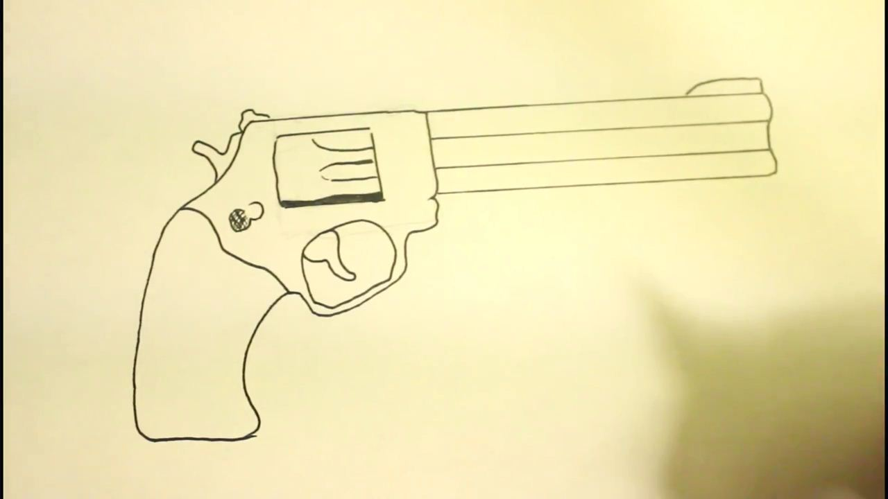 How To Draw A Pistolstep By Stepgunon Paper