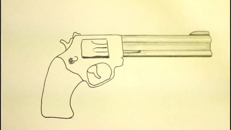 How To Draw A Pistol-Step By Step-Gun-On Paper..mp4_20151103_192221.612