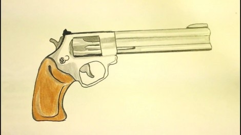 How To Draw A Pistol-Step By Step-Gun-On Paper..mp4_20151103_192231.762
